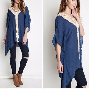 Umgee USA Crochet Mix Boho Tunic Summer Dress M/L